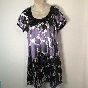 BCBG MaxAzria Purple Black Dress Med Shift Floral
